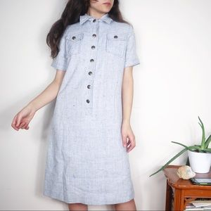 Vintage 70s Tweed Shirt Dress Light Blue